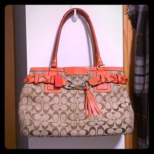 Coach coral/ signature handbag